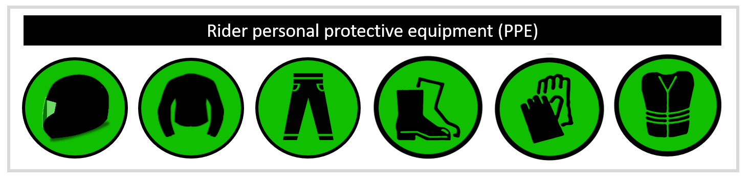 motorcycle rider personal protective equipment infographic