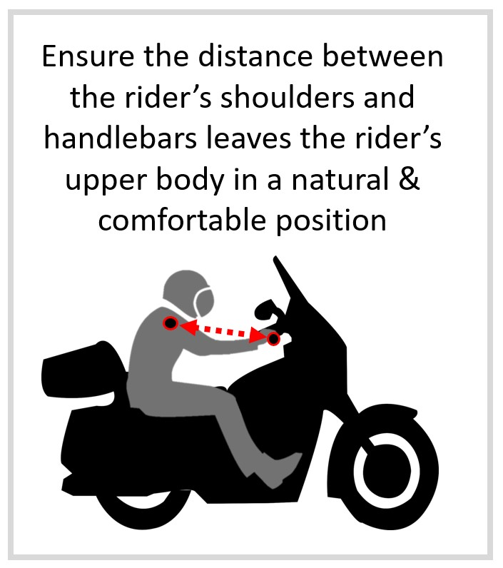 beginner motorcycle rider distance to handlebars infographic