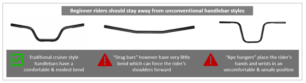 unconventional motorcycle handlebars are not appropriate for beginner motorcycle riders infographic